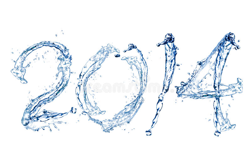 Bonne année 2014 par baisse de l'eau images stock