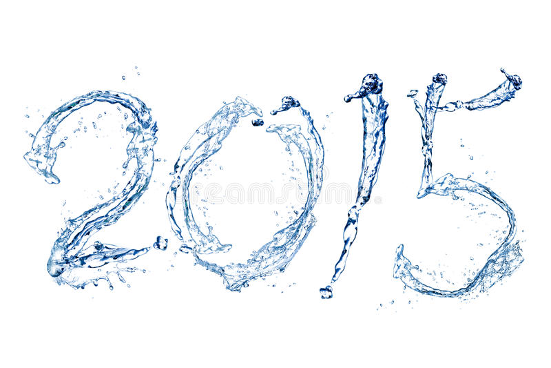 Bonne année 2015 par baisse de l'eau image stock