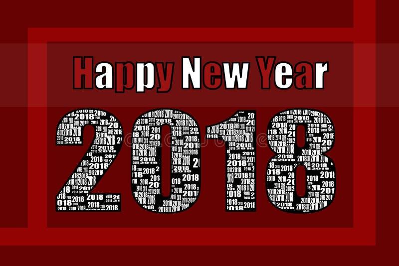 Bonne année 2018 rouge et blanche photographie stock