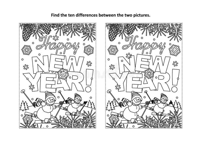 Bonne année saluant pour trouver le puzzle visuel de différences et la page de coloration illustration libre de droits