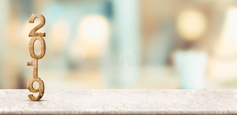 Bonne année 2019 sur la table de marbre avec le mur mou pâle de bokeh, Ba photographie stock libre de droits