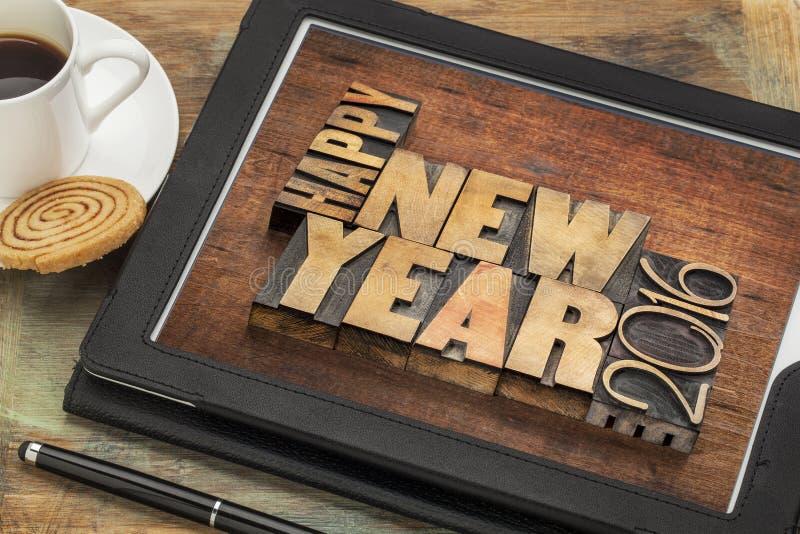 Bonne année 2016 sur le comprimé image libre de droits