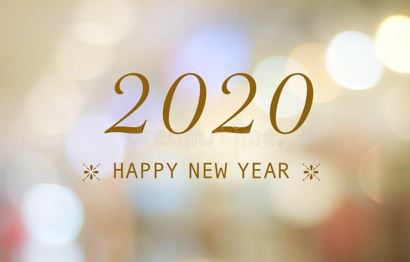 Bonne année 2020 sur le fond abstrait de bokeh de tache floue, carte de voeux de nouvelle année, bannière image stock