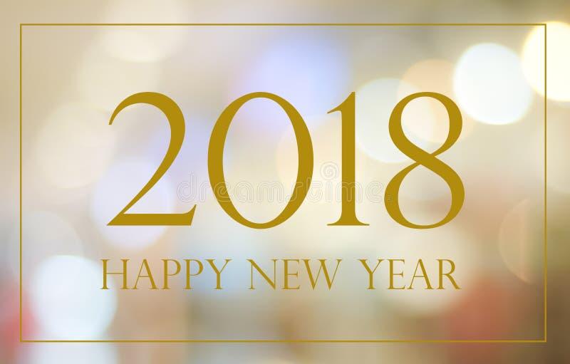 Bonne année 2018 sur le fond de fête de bokeh de tache floue abstraite, b images stock