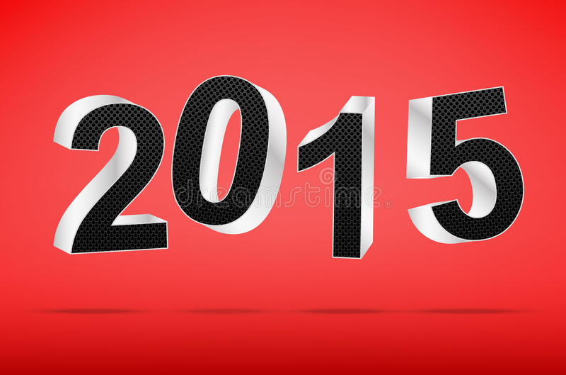 Bonne année 2015 sur le fond rouge illustration stock