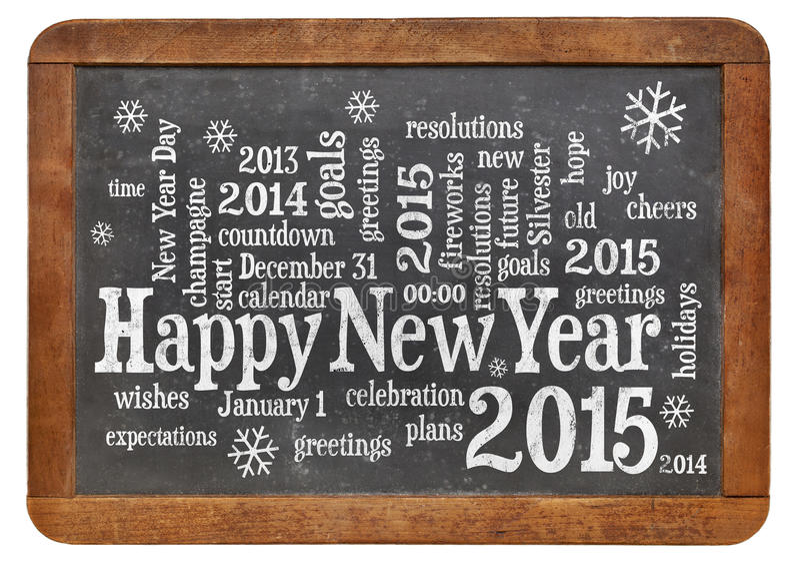 Bonne année 2015 sur le tableau noir photographie stock