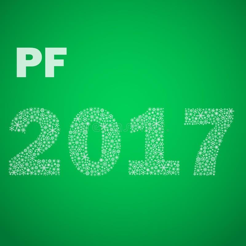 Bonne année verte PF 2017 des petits flocons de neige eps10 illustration stock