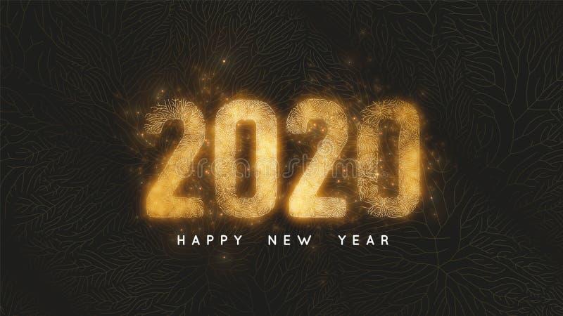 Bonne ann?e 2020 Fond foncé avec le filet d'or et 2020 nombres d'or rougeoyants comme veines de feuille d'or et d'étincelles illustration libre de droits