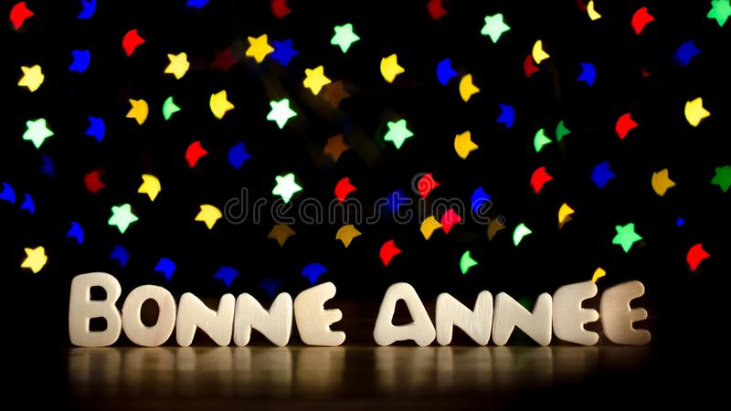 Bonne annee, happy new year in French language stock photo