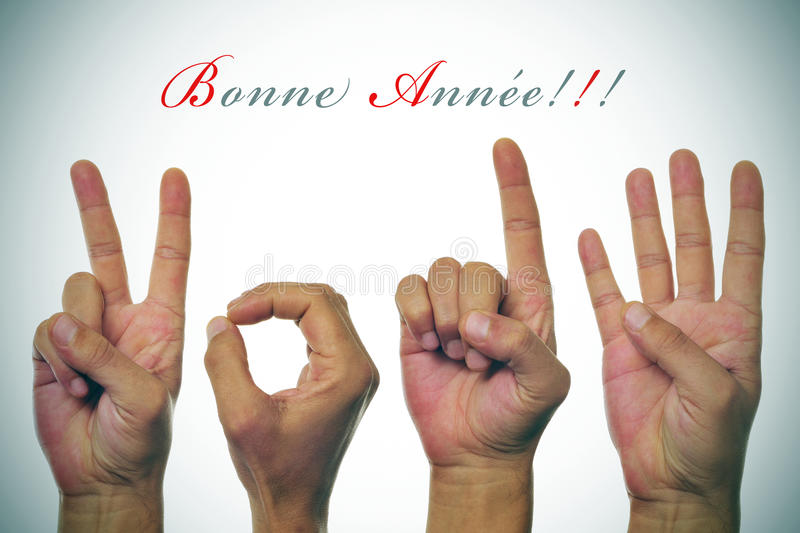 Bonne annee 2014, happy new year 2014 written in french royalty free stock photography