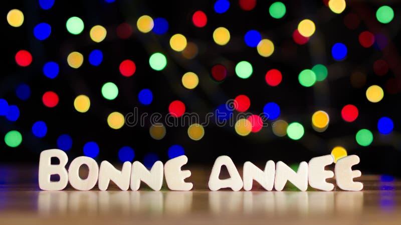 Bonne annee, lyckligt nytt år i franskt språk arkivfoton