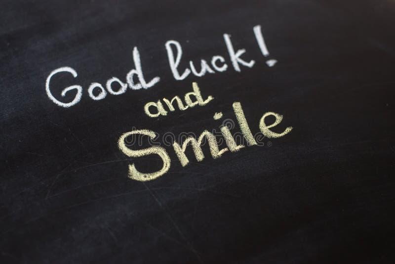 Bonne Chance Et Sourire Texte écrit Photo Stock Image Du
