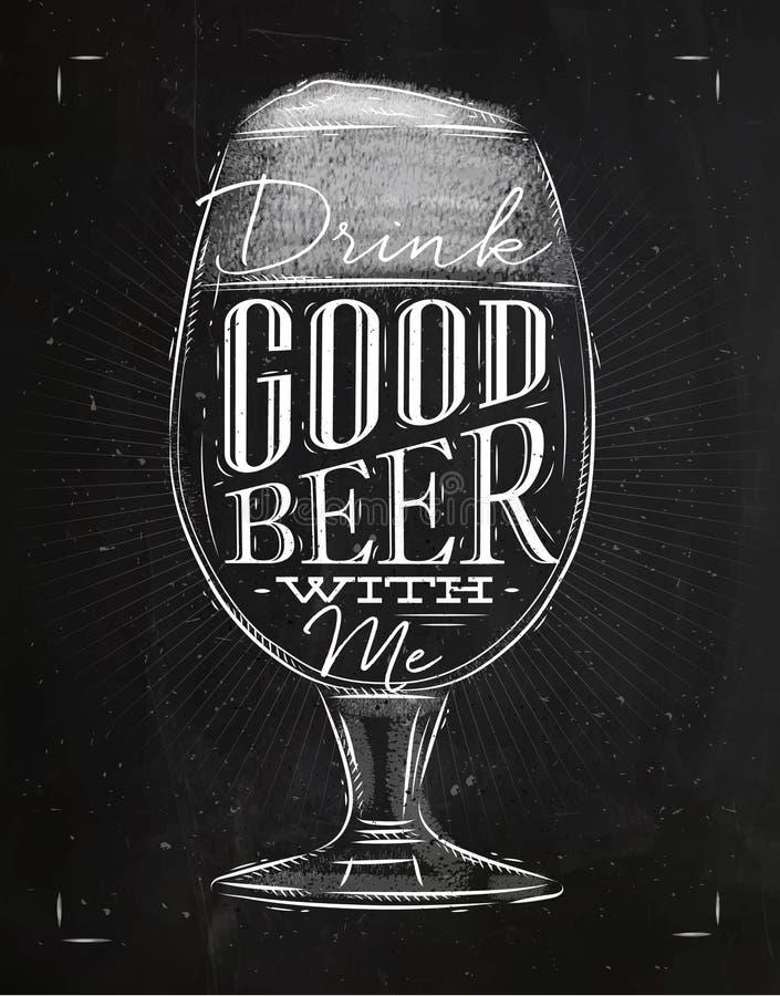 Bonne craie de bière d'affiche illustration libre de droits