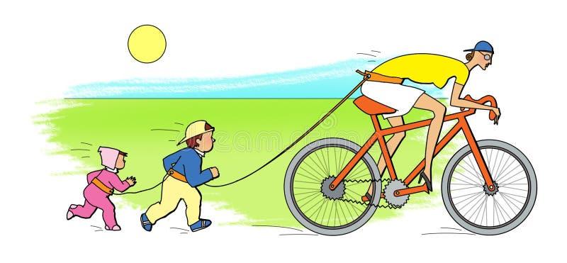 Bonne d'enfants active Deux enfants courus pour une babysitter, montant une bicyclette illustration stock