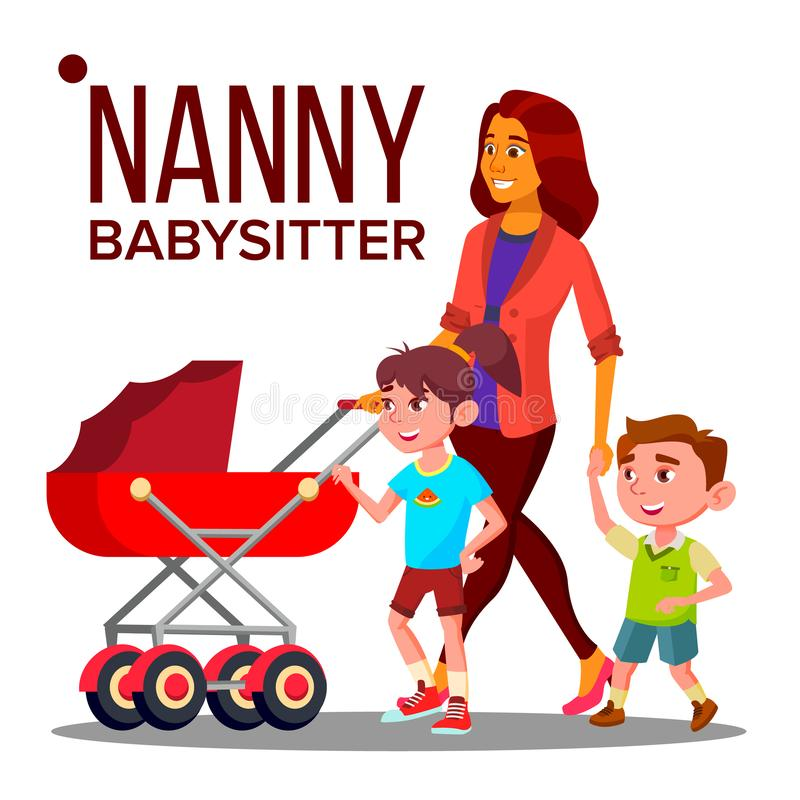 Bonne d'enfants Woman Vector Bonne d'enfants With Children de babysitter Conception de famille de soin Illustration illustration libre de droits