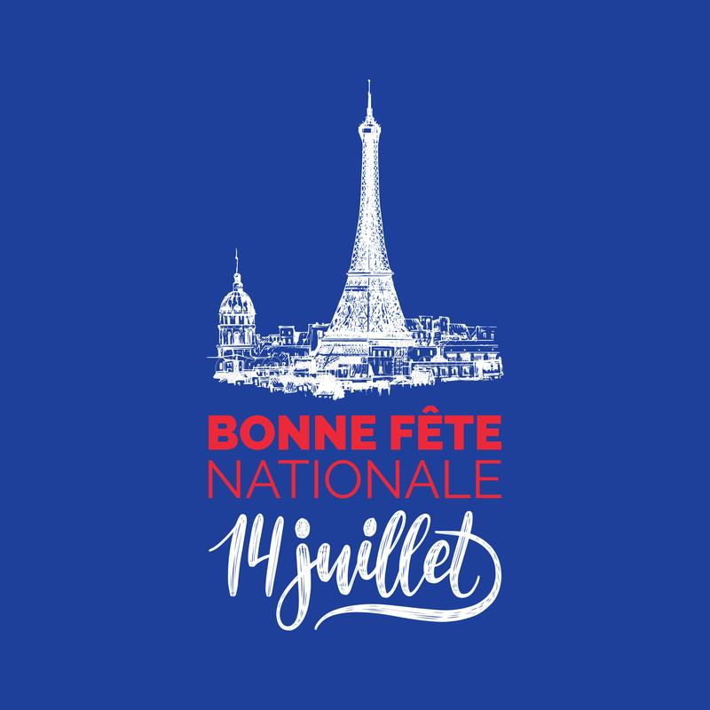 Bonne Fete Nationale,hand lettering.Phrase translated from French Happy National Day.Drawn illustration of Eiffel Tower. stock illustration