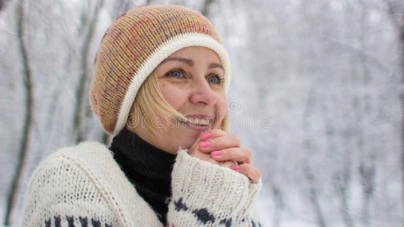 Bonne fille d'humeur pendant l'hiver photos stock