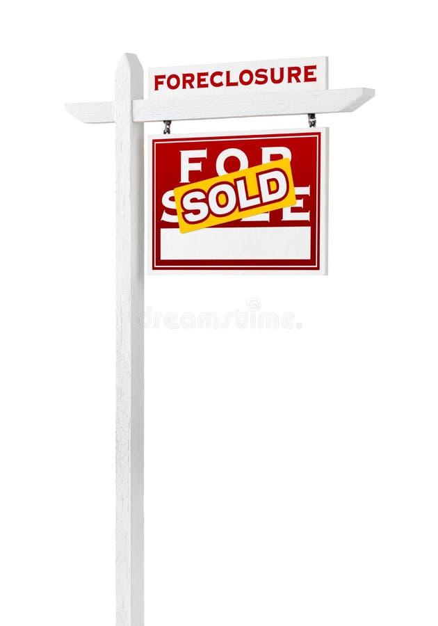 Bonne forclusion de revêtement vendue pour le signe de Real Estate de vente d'isolement image stock
