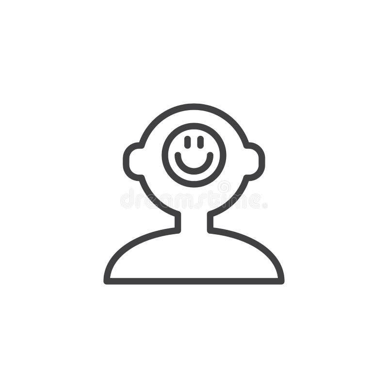 Bonne icône d'ensemble d'esprit humain d'humeur illustration stock