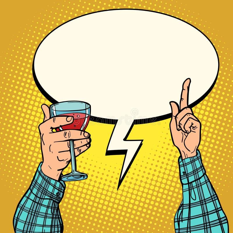 Bonne main de vin avec le verre illustration libre de droits