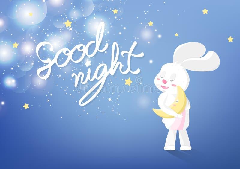 Bonne nuit, calligraphie, décoration rêveuse douce de calibre de couverture de fond de carte de voeux, lapin adorable dormant sou illustration libre de droits