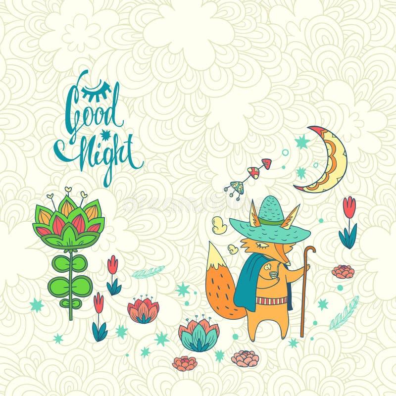 Bonne nuit Illustration tirée par la main de vecteur illustration libre de droits