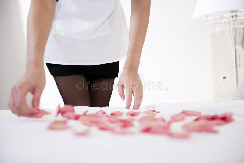 Bonne préparant le bâti pour des mariés images libres de droits