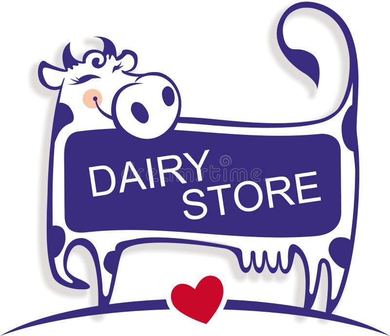 Bonne vache mignonne comme élément de logo de magasin de laiterie illustration de vecteur