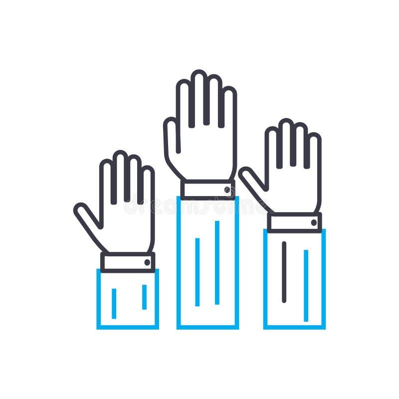 Bonne volonté de participer ligne mince icône de vecteur de course Bonne volonté de participer illustration d'ensemble, signe lin illustration stock