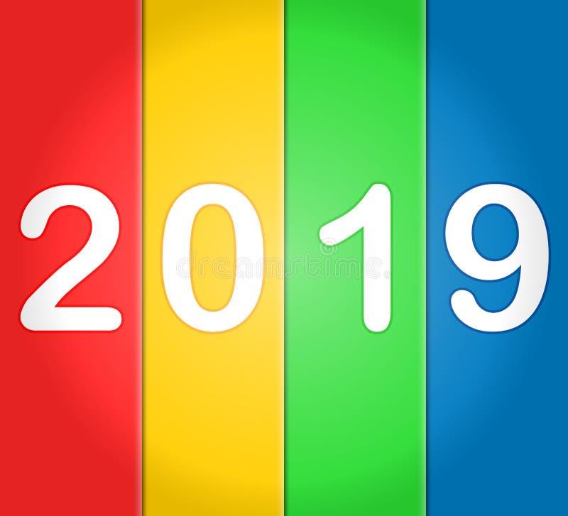 2019 bonnes années avec les milieux colorés illustration stock