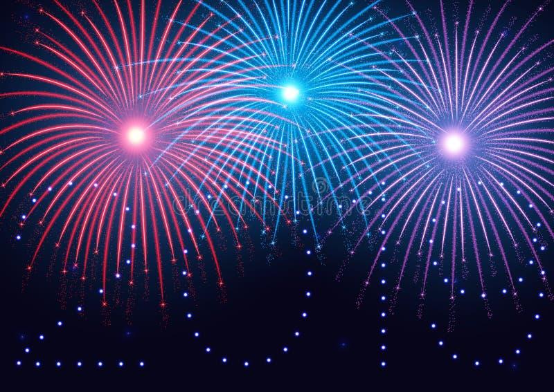 2019 bonnes années ! Bonne année, fond avec les feux d'artifice colorés et étincelles illustration libre de droits