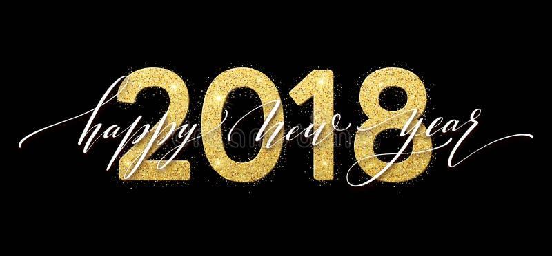 2018 bonnes années Carte de voeux d'or de conception de scintillement de nombres Modèle brillant d'or Illustration de vecteur illustration de vecteur
