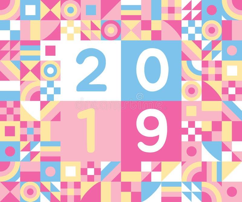 2019 bonnes années d'illustration plate de vecteur de conception de style de carte postale de salutation de porc avec les élément illustration libre de droits