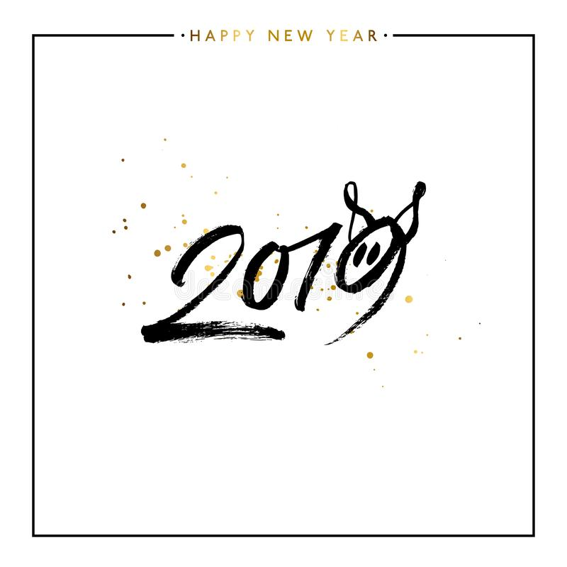 2019 bonnes années de porc, illustration de vecteur illustration stock