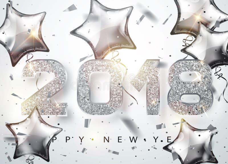 2018 bonnes années Les nombres argentés conçoivent avec les ballons en forme d'étoile de la carte de voeux illustration de vecteur