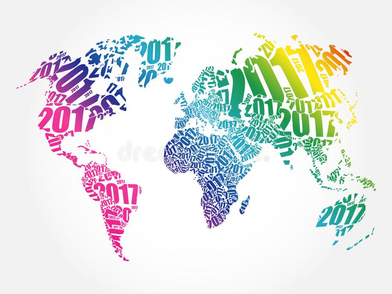 2017 bonnes ann?es, carte du monde image stock