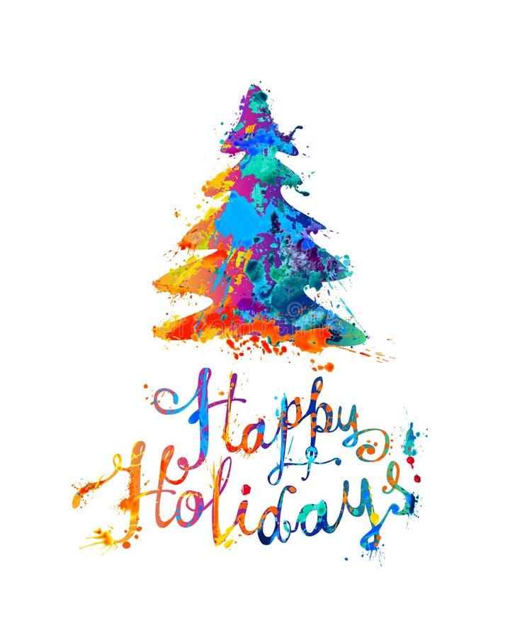Bonnes fêtes carte avec l'arbre de Noël Main écrivant le pai d'éclaboussure illustration de vecteur
