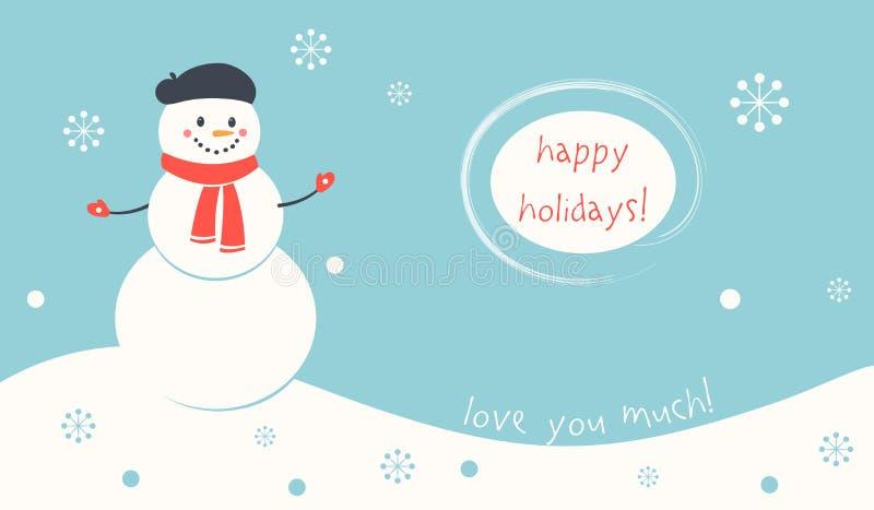Bonnes fêtes carte de bonhomme de neige illustration de vecteur