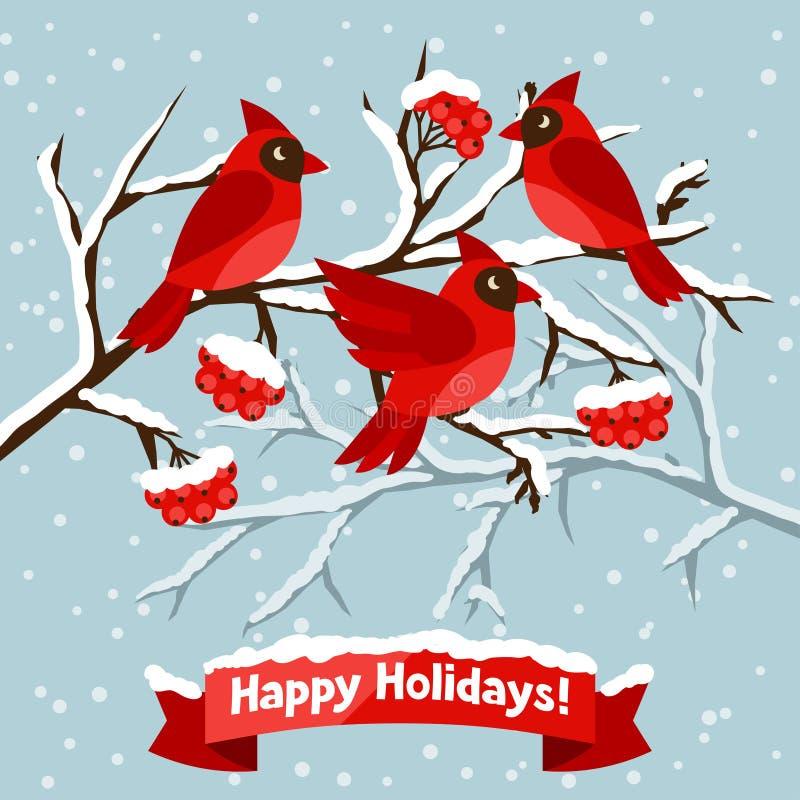 Bonnes fêtes carte de voeux avec des oiseaux rouges illustration stock