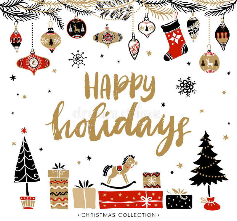 Bonnes fêtes Carte de voeux de Noël avec la calligraphie illustration libre de droits