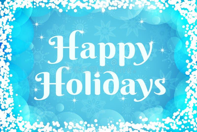 Bonnes fêtes carte de voeux Fond de vecteur de l'hiver Les couleurs bleu-clair et blanches wallpaper avec les flocons de neige tr illustration libre de droits