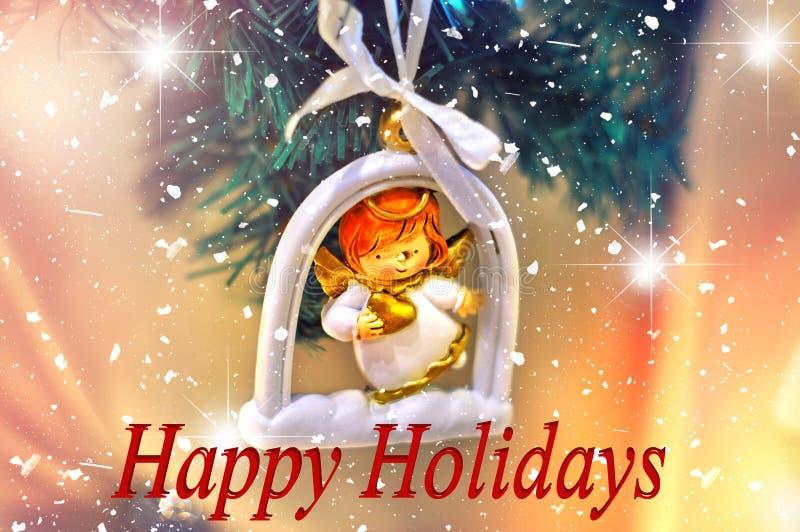 Bonnes fêtes conception de fond Arbre de Noël avec des décorations sous forme d'ange avec des étoiles images libres de droits