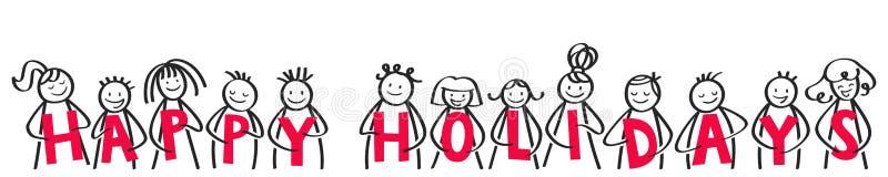 Bonnes fêtes, Joyeux Noël, chiffres heureux de bâton souriant et riant, tenant les lettres rouges, bannière horizontale illustration de vecteur