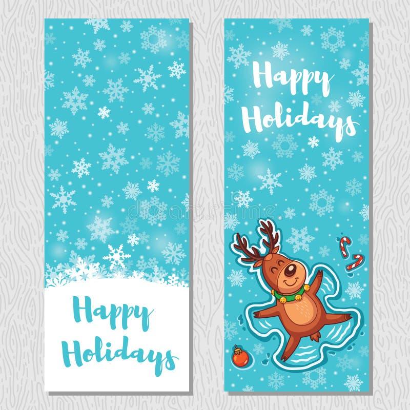 Bonnes fêtes le fond vertical de conception a placé avec les cerfs communs mignons de bande dessinée illustration de vecteur
