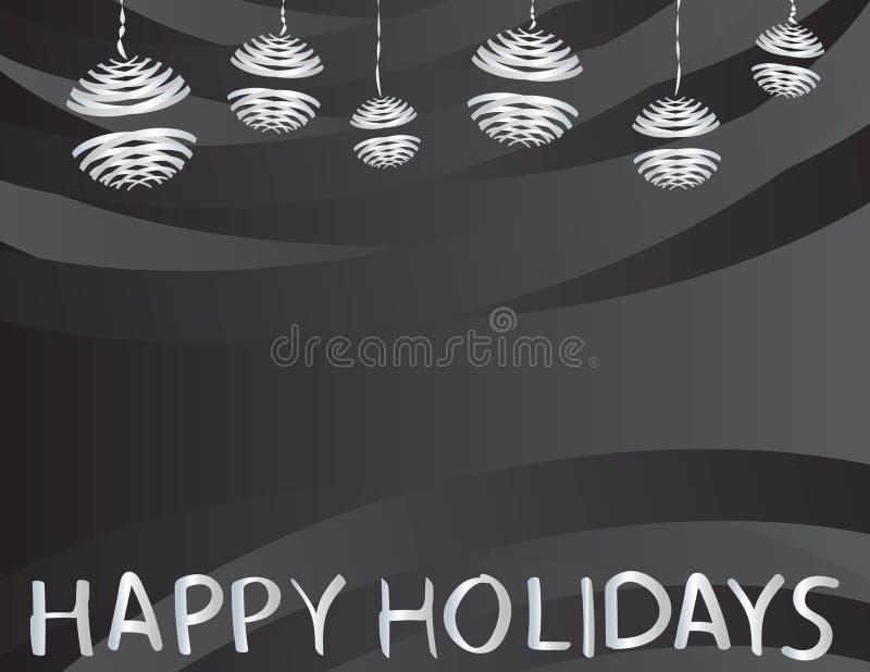 Bonnes fêtes salutation et ornements accrochants gris de Noël sur le fond noir illustration de vecteur