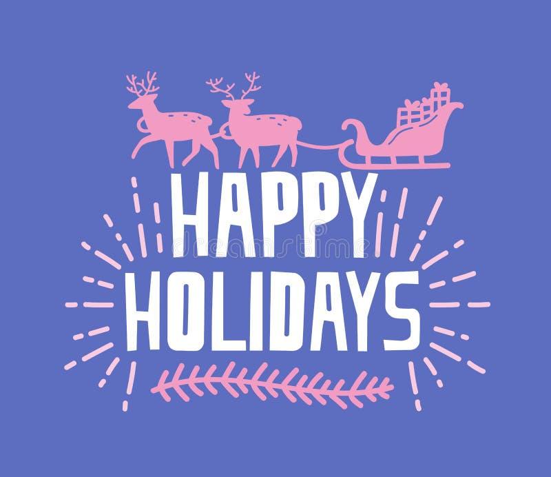 Bonnes fêtes souhait écrit avec la police géniale Expression manuscrite décorée par la branche et la silhouette du transport de r illustration libre de droits