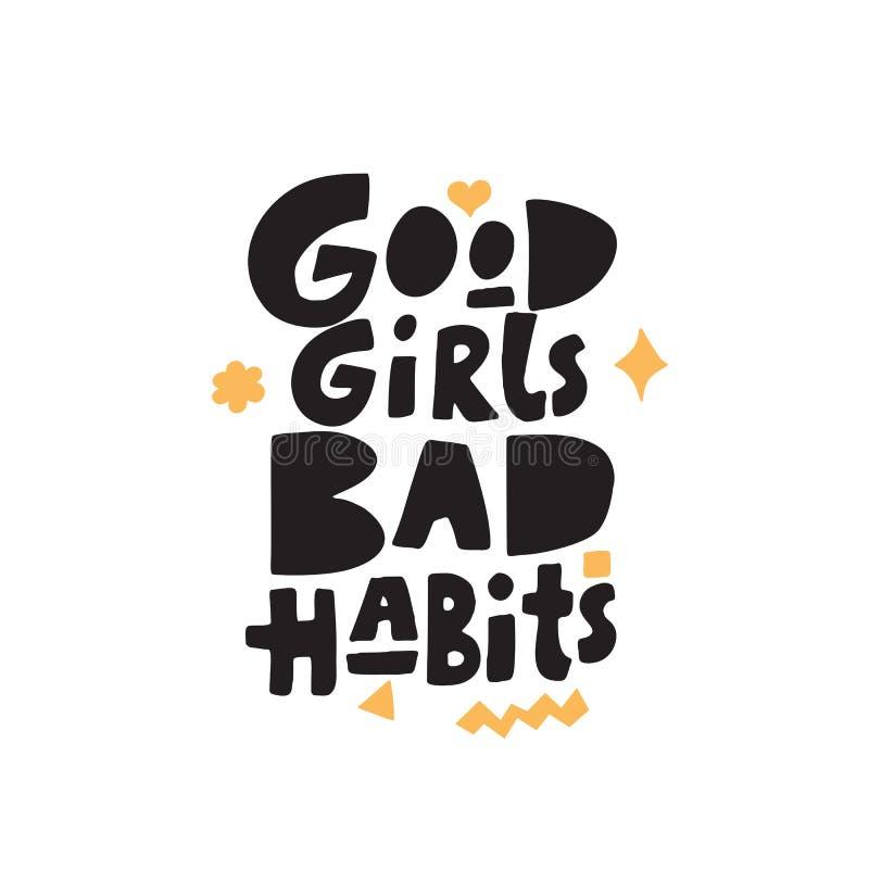 Bonnes mauvaises habitudes de filles Main dr?le marquant avec des lettres la citation faite dans le style de papercut de tendance illustration libre de droits