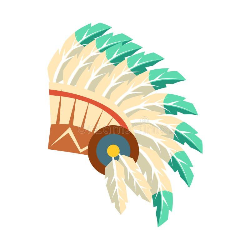 Bonnet с пер, символ войны руководителя культуры коренного американца индийский, этнический объект от Северной Америки изолировал бесплатная иллюстрация