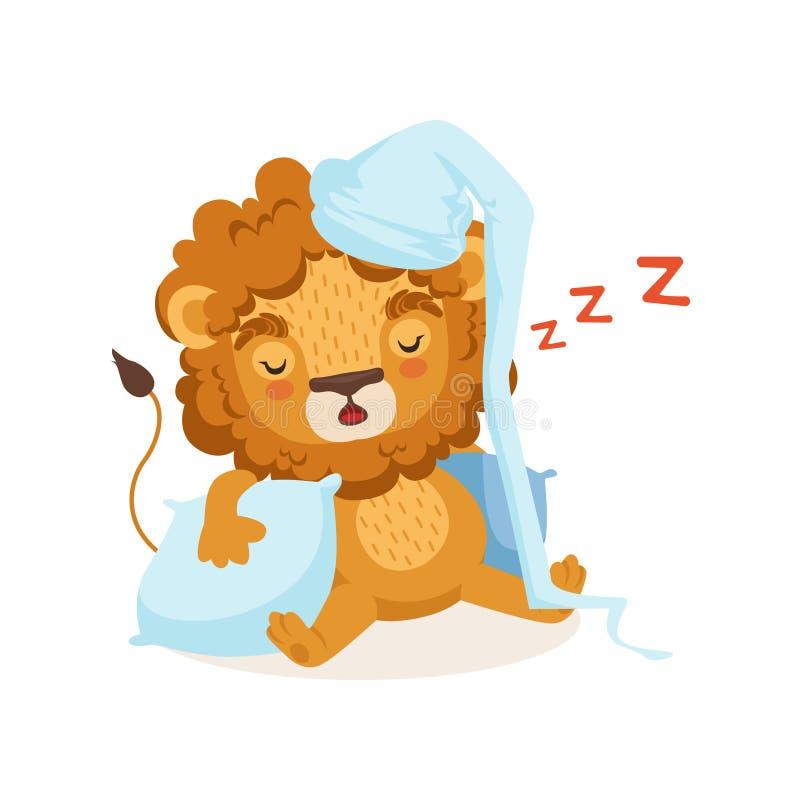 Bonnet de nuit de port de personnage de dessin animé de lion et sommeil sur deux oreillers Illustration plate de vecteur de conce illustration stock