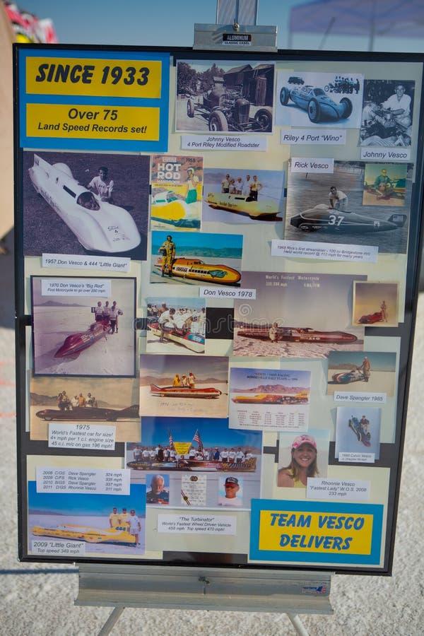 BONNEVILLE SALT-VLAKTEN, UTAH - SEPTEMBER 8: Informatio van het Vescoteam royalty-vrije stock afbeelding